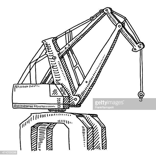 dockside crane drawing - steel cable stock illustrations, clip art, cartoons, & icons