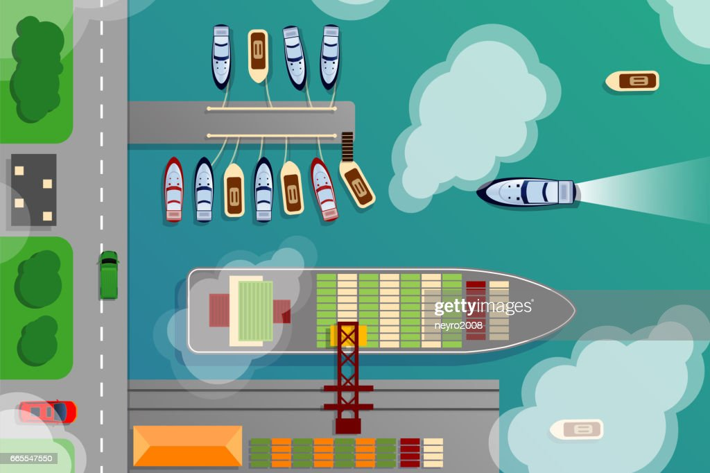 Dockyard harbor terminal aerial top view with cargo ship and ocean boats vector illustration