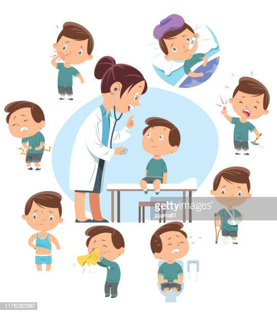 doctor and kids diseases - illness stock illustrations