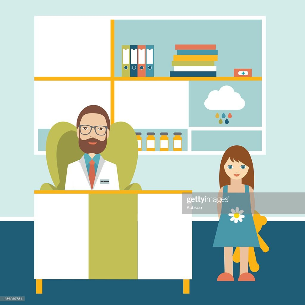 Doctor and little patient in office surgery. Pediatric clinic.
