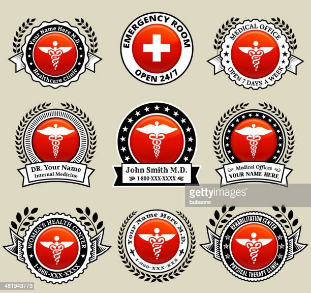 Doctor and Medical Office badges with Red Button