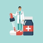 Doctor and medicine vector