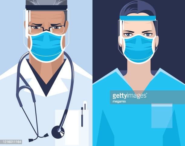 doctor and nurse. - surgeon stock illustrations