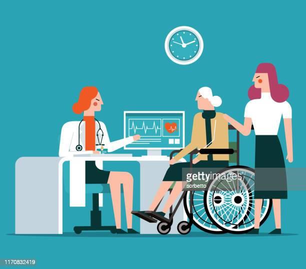 illustrazioni stock, clip art, cartoni animati e icone di tendenza di doctor and old patient - female - infermiera