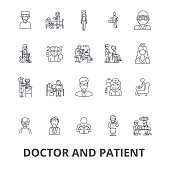 Doctor and patient, cabinet, medical, hospital, consultation, nurse, healthcare line icons. Editable strokes. Flat design vector illustration symbol concept. Linear signs isolated