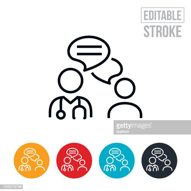 doctor and patient online chat thin line icon - editable stroke - discussion stock illustrations