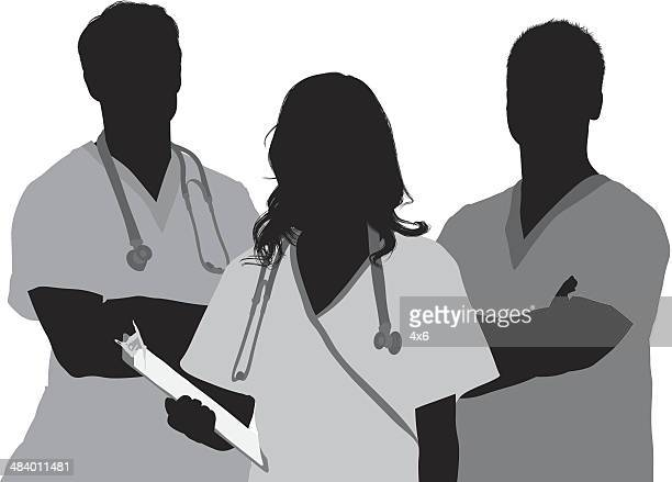 doctor and patient - three people stock illustrations