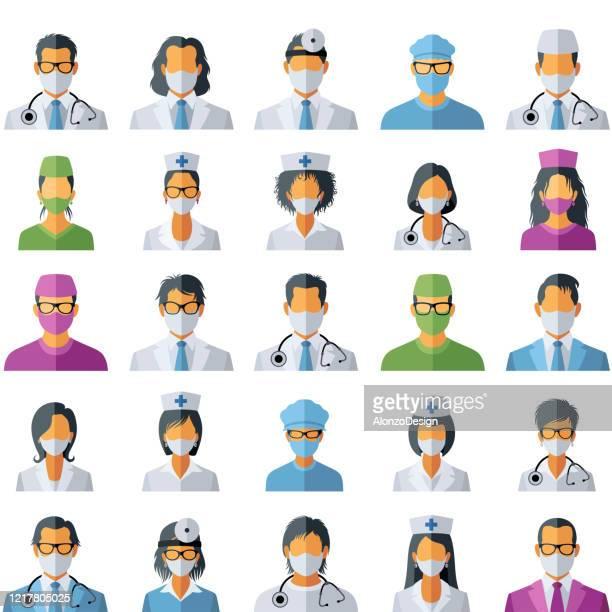 医師アバターアイコン。コロナウイルスの医療コンセプト。 - 女医点のイラスト素材/クリップアート素材/マンガ素材/アイコン素材
