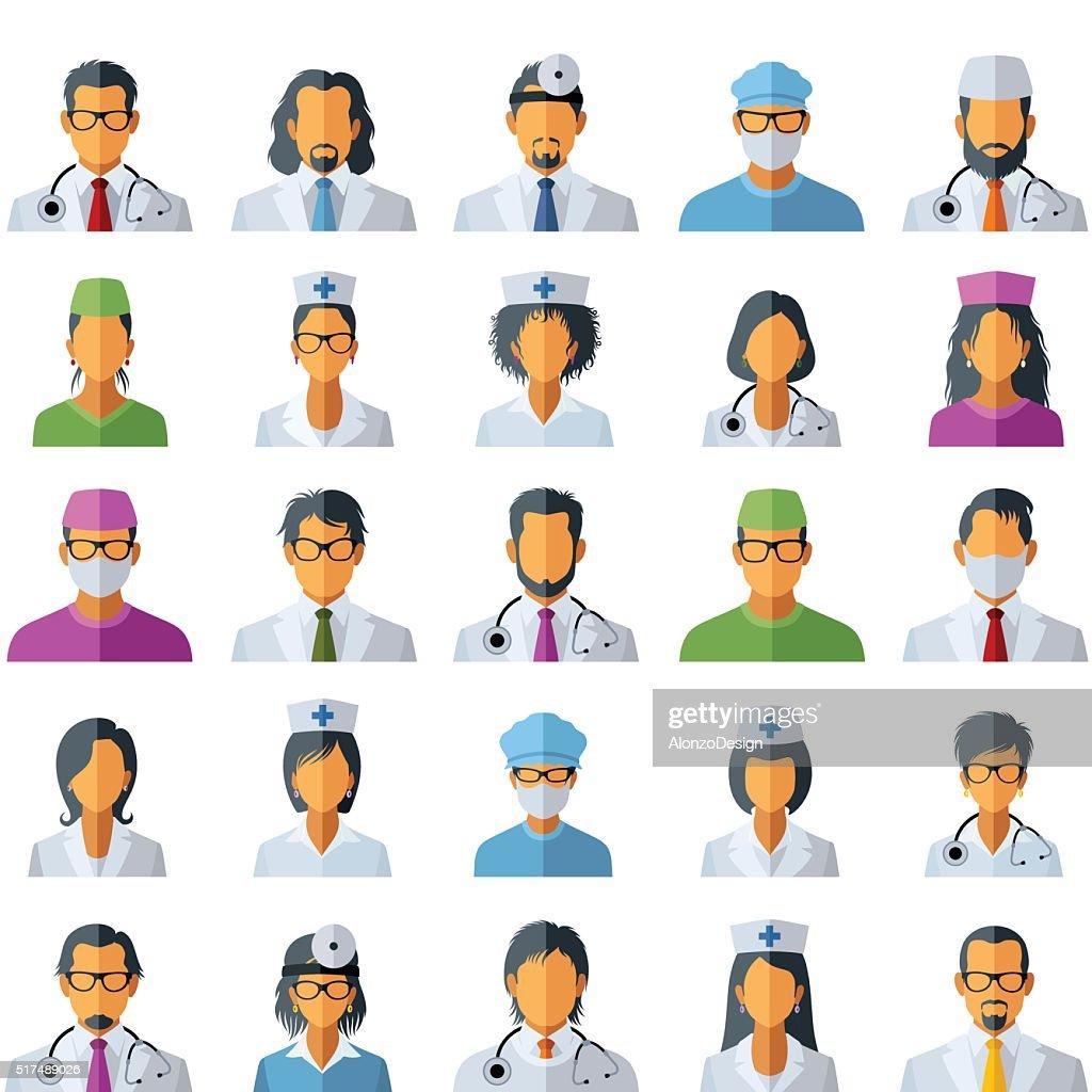 Médico Avatar iconos : Ilustración de stock