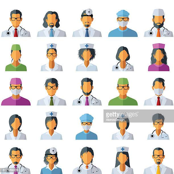 doctor avatar icons - avatar stock illustrations