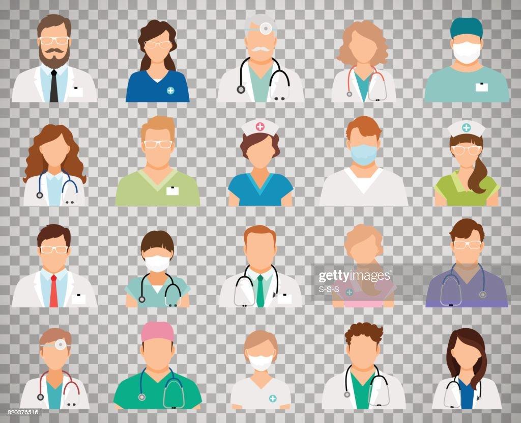 Doctor avatars on transparent background