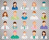 Doctor avatars on transparent background