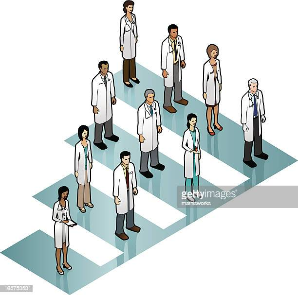 doctor bar graph image - oncology stock illustrations, clip art, cartoons, & icons