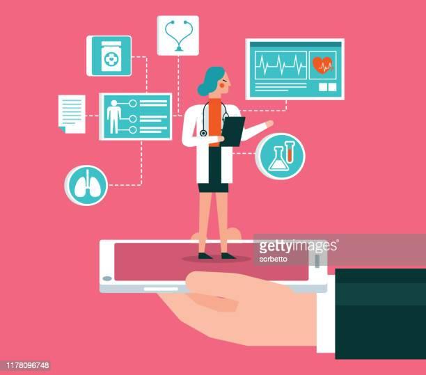 illustrazioni stock, clip art, cartoni animati e icone di tendenza di doctor call - female - infermiera