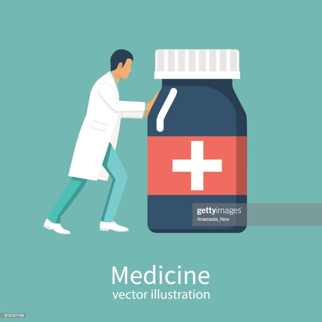 Doctor carries bottle of medications.