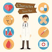 Doctor character Icon set vector