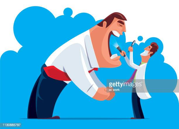 doctor checking businessman mouth - toothache stock illustrations, clip art, cartoons, & icons