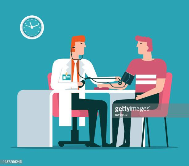 doctor checking patients blood pressure - sclerosis stock illustrations