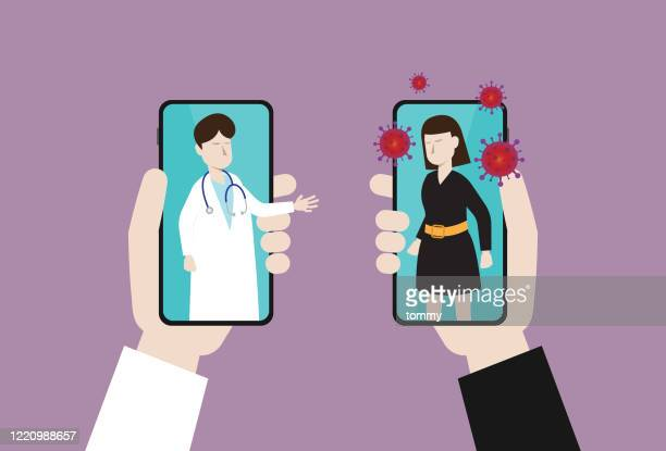 doctor cure a patient by telemedicine - viral shedding stock illustrations