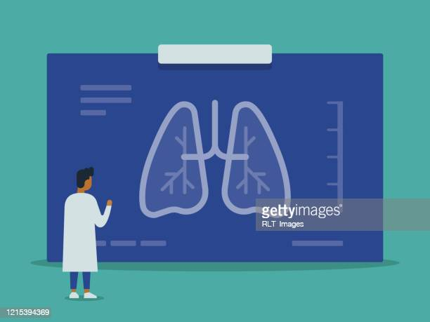 doctor examining giant chest x-ray of lungs vector illustration - respiratory disease stock illustrations
