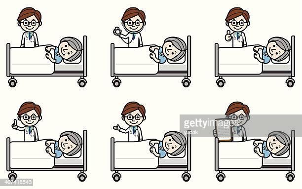 Doctor examining senior female patient
