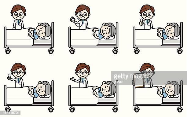 ilustraciones, imágenes clip art, dibujos animados e iconos de stock de senior médico examinar paciente de sexo masculino - asistente de enfermera