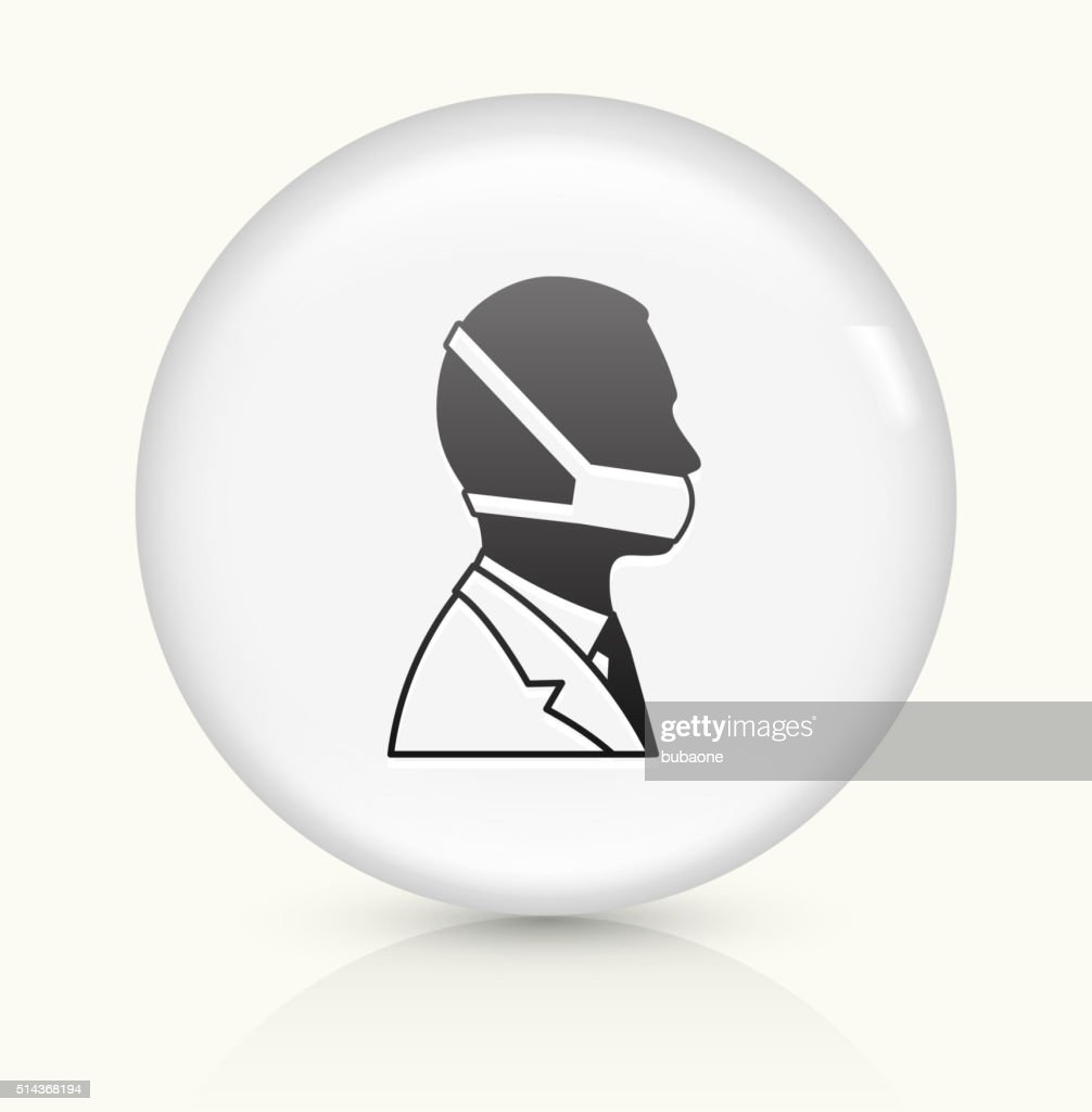 Doctor Face icon on white round vector button