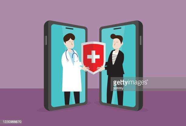 doctor give a healthcare shield to a businessman - viral shedding stock illustrations