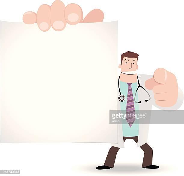 医師、ブランクサインを指すことに、