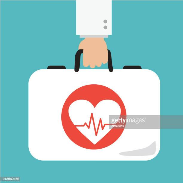 医者の心を保持するケア ブリーフケース - heart shape点のイラスト素材/クリップアート素材/マンガ素材/アイコン素材