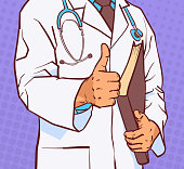 Doctor Holding Thumb Up Closeup Of Medical Male Prectitioner In White Coat Over Comic Pop Art Background