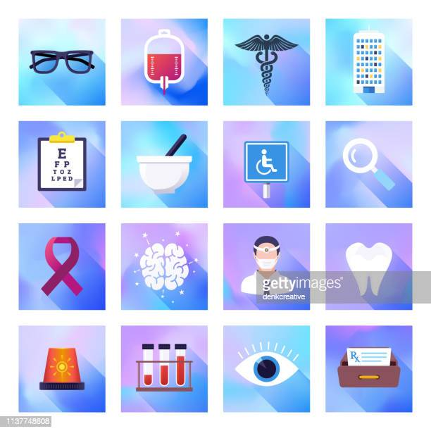 Doctor, Hospital & Health Authorities Holographic Gradient Style Vector Flat Icon Set