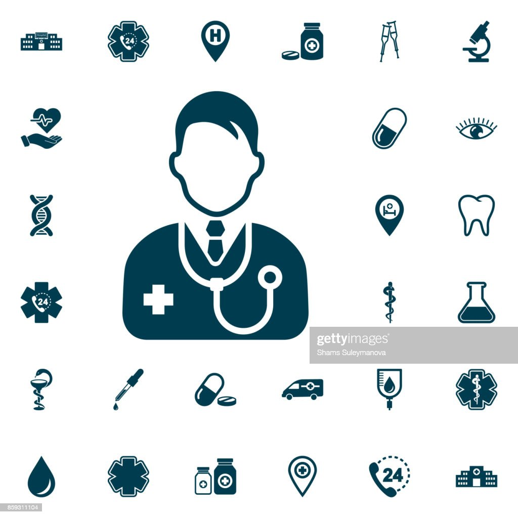 Doctor icon, medical set on white background. Health Care Vector illustration
