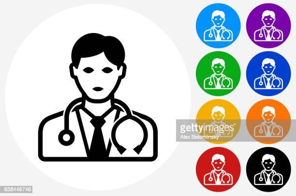illustrations, cliparts, dessins animés et icônes de doctor icon on flat color circle buttons - docteur