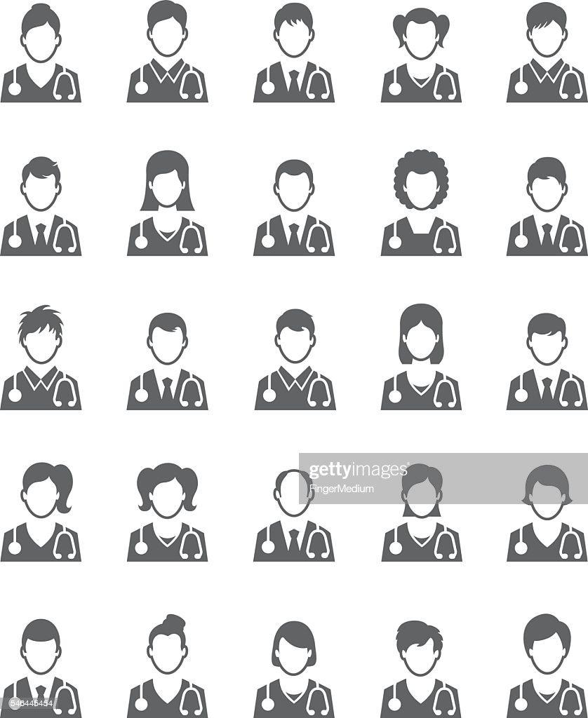 Doctor icon set : stock illustration
