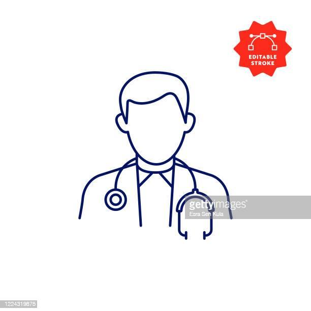 編集可能なストロークとピクセルパーフェクトを持つ医師のアイコン。 - 医師点のイラスト素材/クリップアート素材/マンガ素材/アイコン素材