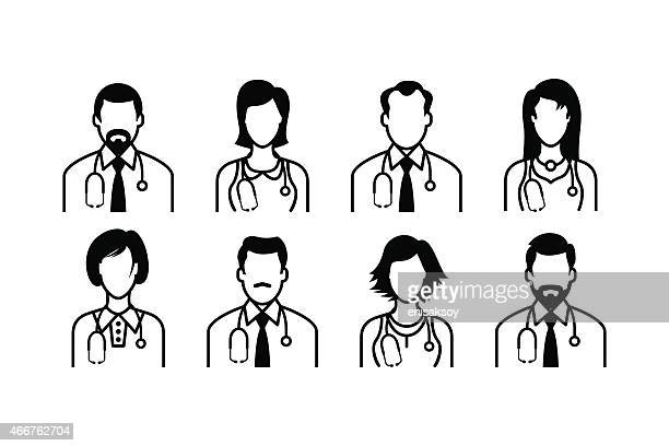 doctor icons - mature adult stock illustrations