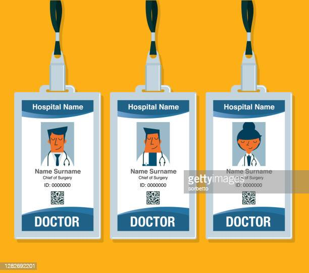 doctor id card - id card template stock illustrations