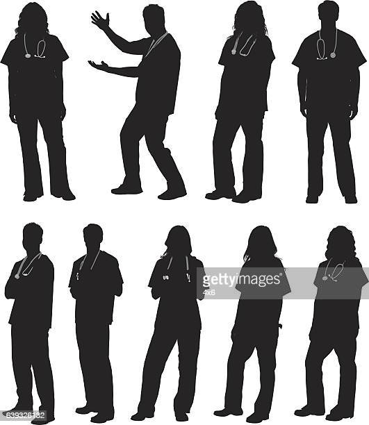 stockillustraties, clipart, cartoons en iconen met doctor in various actions - silhouet