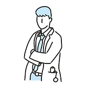 Doctor. line drawing and hand drawn. vector illustration.