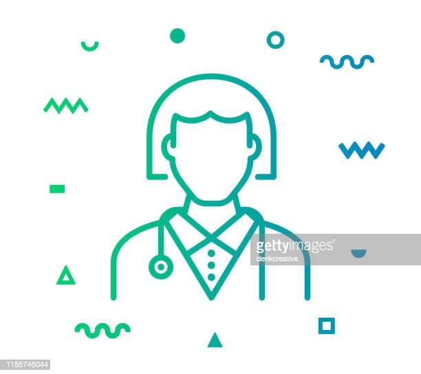 ドクターラインスタイルのアイコンデザイン - 女医点のイラスト素材/クリップアート素材/マンガ素材/アイコン素材