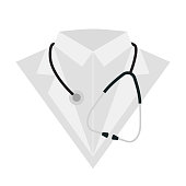 Doctor look with stethoscope isolated on white backgroun