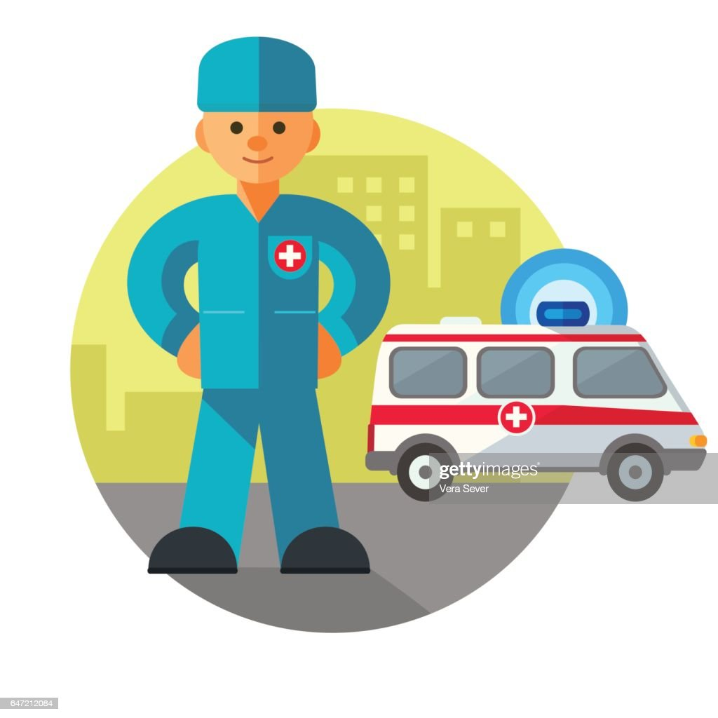 Doctor next to the ambulance in the city
