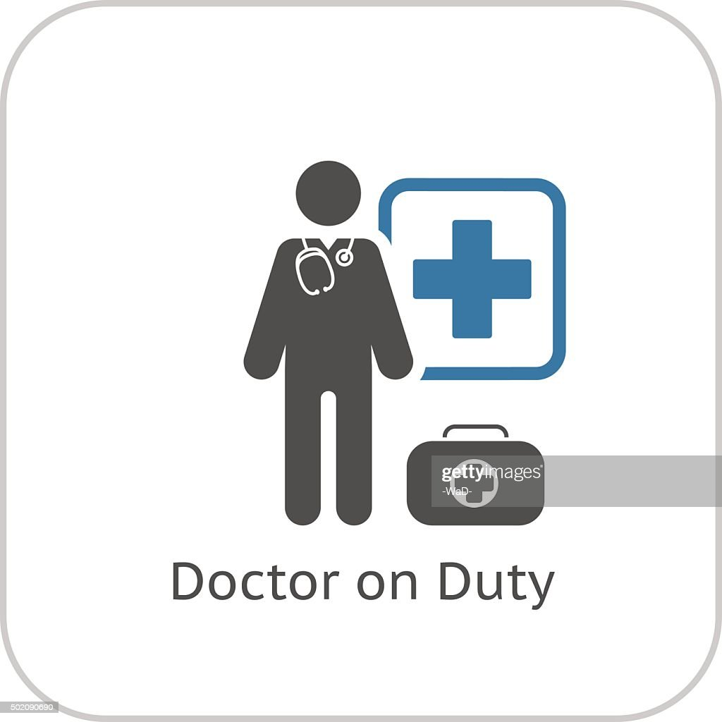 Doctor on Duty Icon. Flat Design.