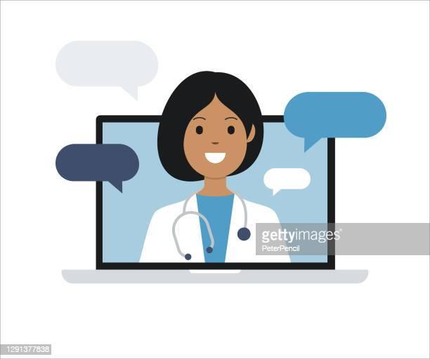 illustrazioni stock, clip art, cartoni animati e icone di tendenza di medico sullo schermo del computer portatile. telemedicina. consulenza medica. illustrazione stock vettoriale - video chiamata