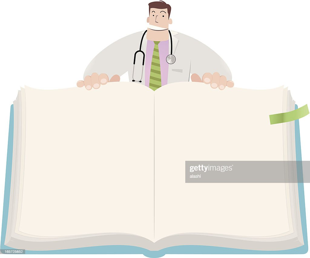 Doctor open book to show the content of health education