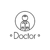 Doctor outline icon on white background