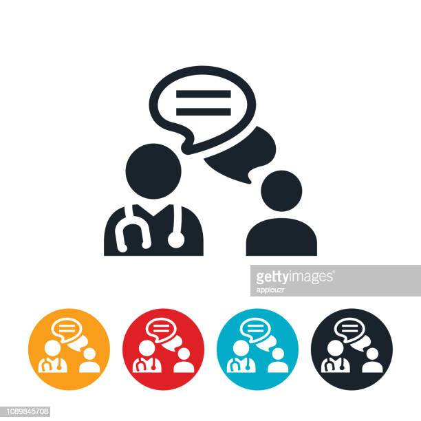 doctor patient communication icon - discussion stock illustrations