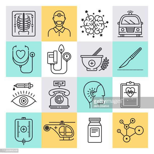 doctor patient confidentiality outline style vector icon set - sociology stock illustrations, clip art, cartoons, & icons