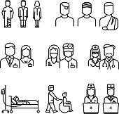Doctor, patient, nurse thin line icons set